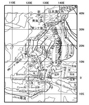図124.東南アジアの縁海とプレート境界(「プレートダイナミクス入門」新妻,2010).  フィリッピン海プレートの西縁境界は、琉球海溝の南で台湾で衝突し、その南で南シナ海が沈み込むマニラ海溝に移り、更にフィリッピンの東側のフィリッピン海溝へ移る.