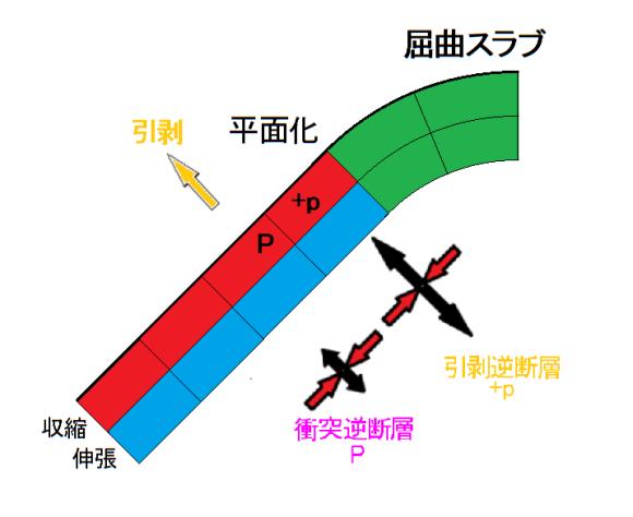 図100.平面化に伴う屈曲スラブの伸張・収縮と発震機構型. 綠色:平面化前の屈曲スラブ.黄色矢印:屈曲スラブを平面に引剥す深部スラブによる張力.青色:伸張層(深層),赤色:収縮層(浅層).平面化では平面化位置の表層(赤色)で+p,P型地震が起る.黒矢印:引張主応力軸,赤矢印:圧縮主応力軸.発震機構型は図97による.
