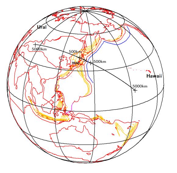 図125.東日本大震災本震断層(×印)のずれ方位に沿う500kmと5000kmの地点と太平洋プレートの周縁隆起帯(青色実線).橙色の10km間隔等深線は,海洋プレートが沈み込んだスラブ深度.正射図法.